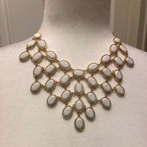 Statement White Drop Necklace with Gold Accents